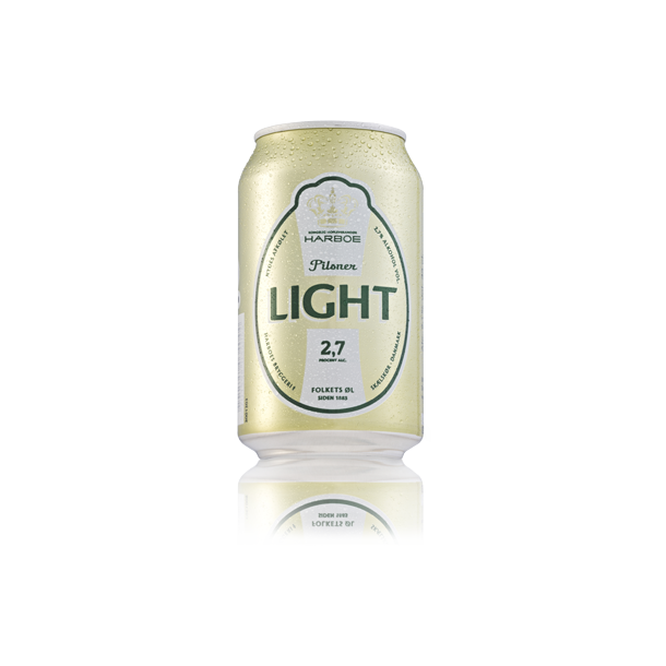 Harboe Light Pilsner 2,7% 33 cl. dåser